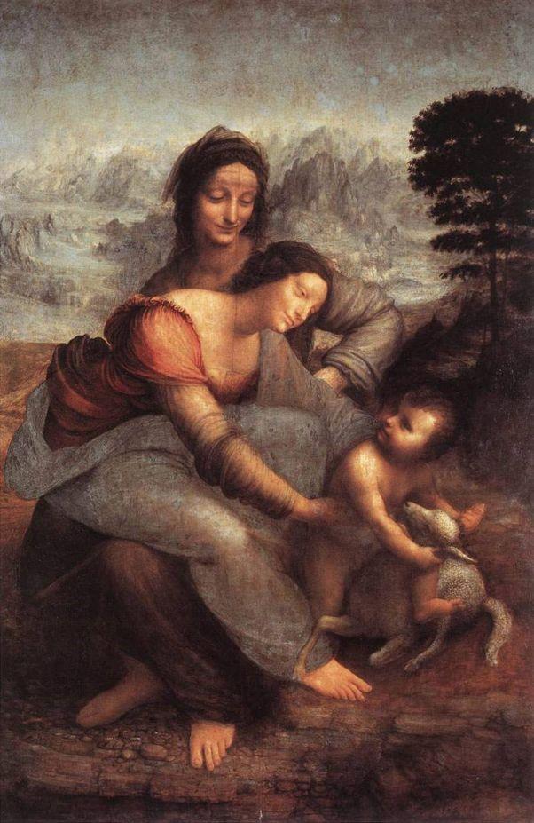 Святая Анна с Марией и младенцем Христом. Леонардо да Винчи