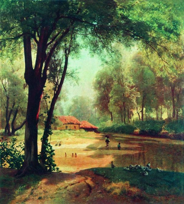 Хаты в лесу. Тишина. 1890