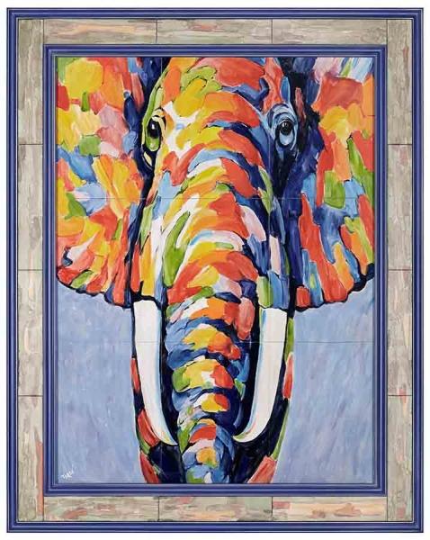Керамическая картина по мотивам работы неизвестного художника «Слон» /  Turof ART