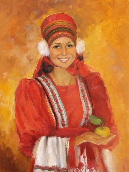 Портрет женщины в мордовском национальном костюме