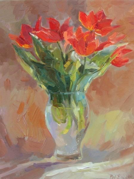 Распустившиеся тюльпаны (этюд)
