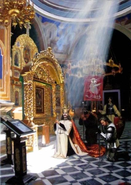 Господарь Молдавского княжества, святой Штефан Великий, в окружение телохранителей, ландскнехтов