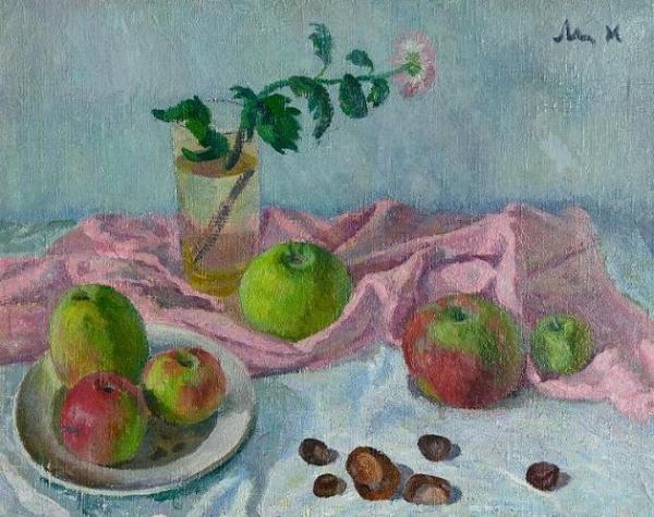 Натюрморт с яблоками и каштанами
