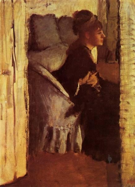 Женщина, надевающая перчатки (ок.1877)