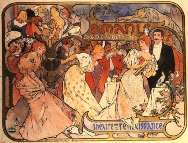 Афиша комедии 'Любовники' 1895