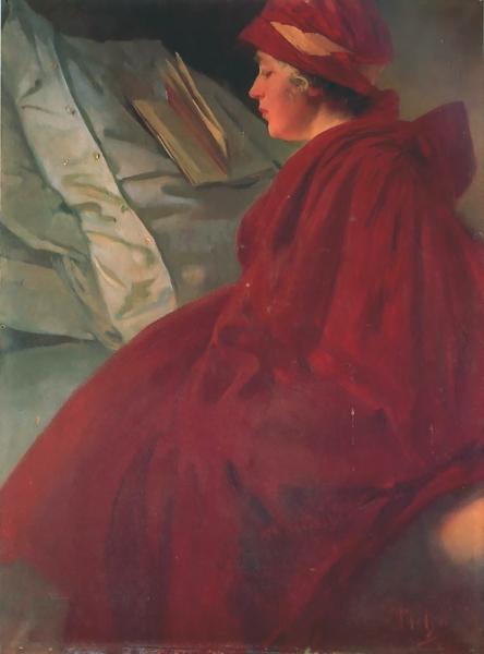 Женщина в красном плаще 1902