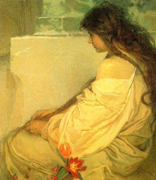 Девушка с распущенными волосами и тюльпанами 1920