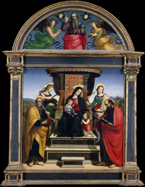 Мадонна с младенцем на троне в окружении святых