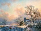 Вольная копия. Фредерик Маринус Круземан. Зимний вечер с фигурками катающихся на льду
