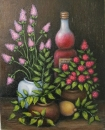 Натюрморт с бутылкой и цветами
