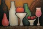Натюрморт с бутылками, вазами и фруктами