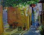Маленькая кофейня на старой улочке в Греции