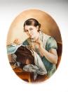Плакетка по мотивам  картины русского художника В.А. Тропинина «Кружевница»