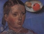 Портрет дочери на фоне натюрморта. 1930-е