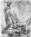 Обнажённая натурщица, сидящая спиной