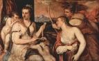 Венера завязывает Купидону глаза