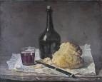 Натюрморт со стеклянной бутылкой и хлебом