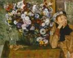 92_Женщина, сидящая рядом с вазой с хризантемами (1865)