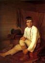 Мальчик одевающий лапти