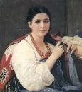 Девушка, заплетающая косу. 1880 Холст, масло. КМРИ