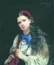 Девушка, заплетающая косу. 1883 Холст, масло. Архангельск