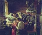 У краюшки хлеба. 1890 Холст, масло. ГРМ