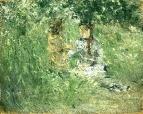 Женщина и ребенок на лугу в Буживале