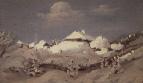Зима. Пятна света на крышах хат. 1890-1895