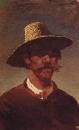 Голова крестьянина-украинца в соломенной шляпе. 1890-1895