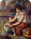 Девушка, вытирающая ноги