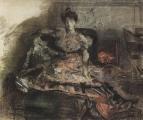 После концерта. Портрет Н.И.Забелы-Врубель у камина. 1905.