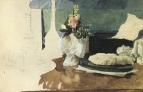 Натюрморт. Цветы, пресс-папье и другие предметы. 1885.