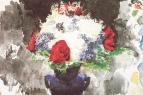 Цветы в синей вазе. 1886-1887. Бумага, акварель. КГМРИ