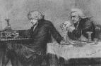 Сальери всыпает яд в бокал Моцарта. 1884.