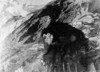 Демон, смотрящий в долину. Черная акварель