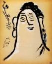 Женская голова и птичка с веткой в клюве