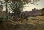 Крестьяне под деревьями на рассвете