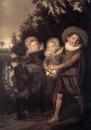 Трое детей в повозке, запряженной козлом