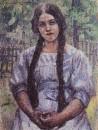 Девушка с косами. Портрет А.А.Добринской. 1910