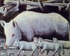 Белая свинья с поросятами. Картон, масло. 80x100 ГМИ Грузии, Тбилиси
