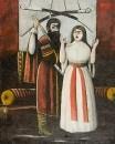 Брат и сестра. Сцена из пьесы В.Гуния.  Клеенка, масло. 120х102 ЧС, Тбилиси
