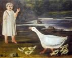Девочка и гусыня с гусятами.