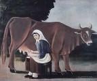 Женщина доит корову. 1916