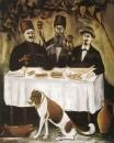 Кутеж в виноградной беседке. Клеенка, масло, 140x114 ГМИ Грузии, Тбилиси
