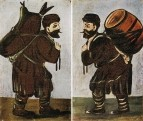Муша с бурдюком. Муша с бочонком. 1911-12 Диптих. Клеенка, масло. 51x34 ГМИ Грузии, Тбилиси