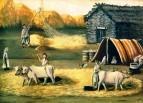 Молотьба хлеба в деревне. Клеенка, масло. Дом-муз. Н.Пиросманашвили, Мирзаани