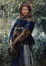 Крестьянка с корзинкой в лесу.