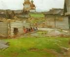 Пейзаж. Этюд со срубом. 1910-е