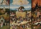 Триптих 'Воз сена' (1490-1500) (открыт). Левая створка - Рай с падением ангелов, правая створка