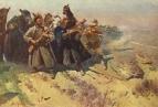 Отряд Буденного в пешем строю поражает врага